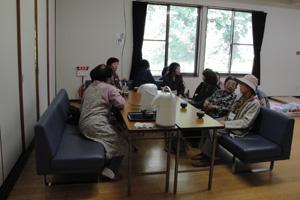 ホッとできるお茶コーナーもあります/高崎地区防災訓練