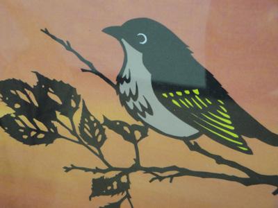 阿部美樹さん 切り絵「秋の夕暮れ」